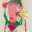 Camilo Restrepo. <em>Rubèn</em>, 2021. Water-soluble wax pastel, ink, tape and saliva on paper 11 3/4 x 8 1/4 inches (29.8 x 21 cm) thumbnail