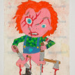 Camilo Restrepo. <em>Chuki</em>, 2021. Water-soluble wax pastel, ink, tape and saliva on paper 11 3/4 x 8 1/4 inches (29.8 x 21 cm) thumbnail