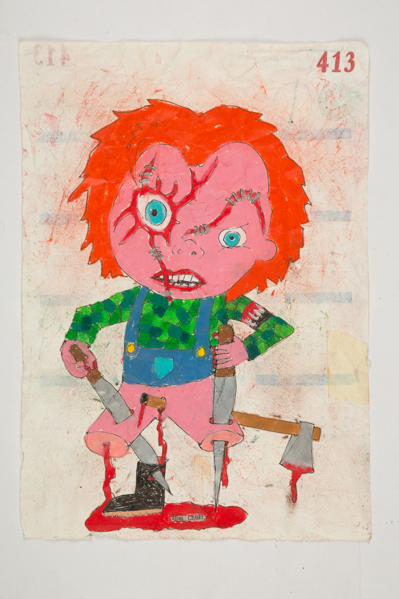 Camilo Restrepo. <em>Chuki</em>, 2021. Water-soluble wax pastel, ink, tape and saliva on paper 11 3/4 x 8 1/4 inches (29.8 x 21 cm)