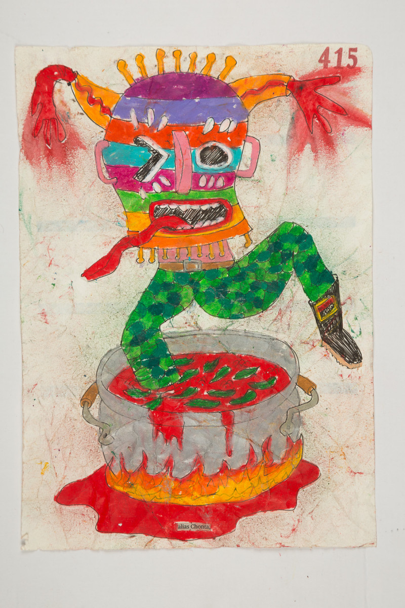 Camilo Restrepo. <em>Chonta</em>, 2021. Water-soluble wax pastel, ink, tape and saliva on paper 11 3/4 x 8 1/4 inches (29.8 x 21 cm)