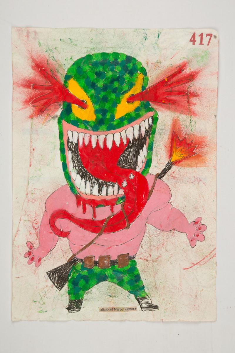 Camilo Restrepo. <em>Josè Marbel Zamora</em>, 2021. Water-soluble wax pastel, ink, tape and saliva on paper 11 3/4 x 8 1/4 inches (29.8 x 21 cm)