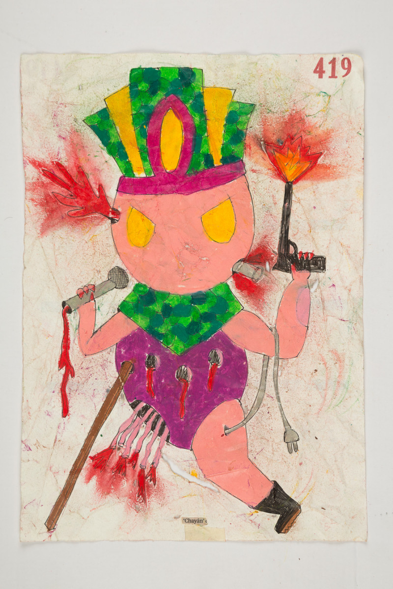 Camilo Restrepo. <em>Chayàn</em>, 2021. Water-soluble wax pastel, ink, tape and saliva on paper 11 3/4 x 8 1/4 inches (29.8 x 21 cm)