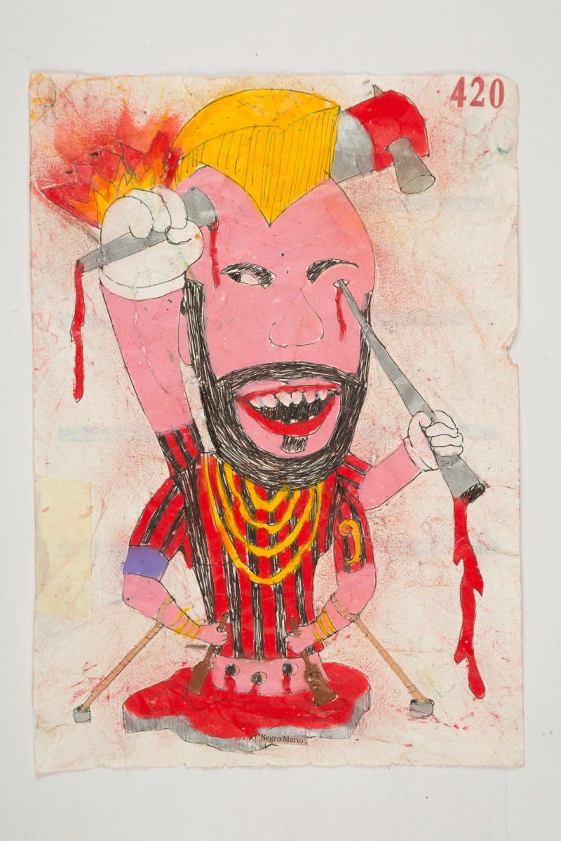 Camilo Restrepo. <em>Negro Mario</em>, 2021. Water-soluble wax pastel, ink, tape and saliva on paper 11 3/4 x 8 1/4 inches (29.8 x 21 cm)