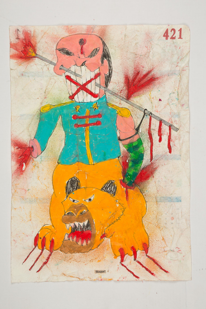 Camilo Restrepo. <em>Roque</em>, 2021. Water-soluble wax pastel, ink, tape and saliva on paper 11 3/4 x 8 1/4 inches (29.8 x 21 cm)