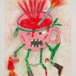 Camilo Restrepo. <em>Pocillo</em>, 2021. Water-soluble wax pastel, ink, tape and saliva on paper 11 3/4 x 8 1/4 inches (29.8 x 21 cm) thumbnail