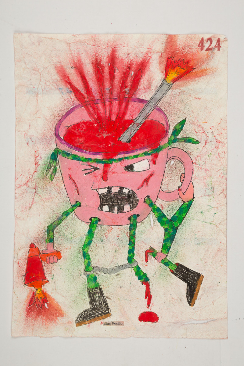 Camilo Restrepo. <em>Pocillo</em>, 2021. Water-soluble wax pastel, ink, tape and saliva on paper 11 3/4 x 8 1/4 inches (29.8 x 21 cm)
