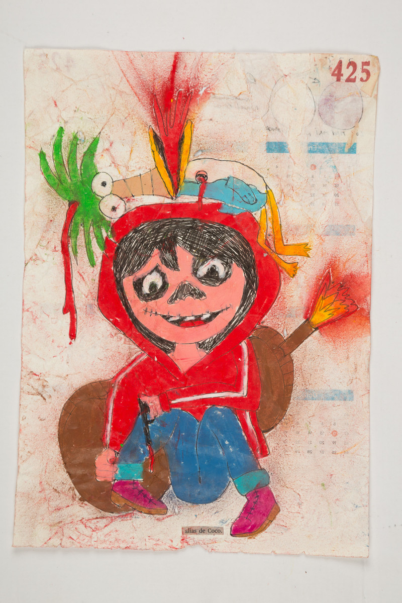 Camilo Restrepo. <em>Coco</em>, 2021. Water-soluble wax pastel, ink, tape and saliva on paper 11 3/4 x 8 1/4 inches (29.8 x 21 cm)