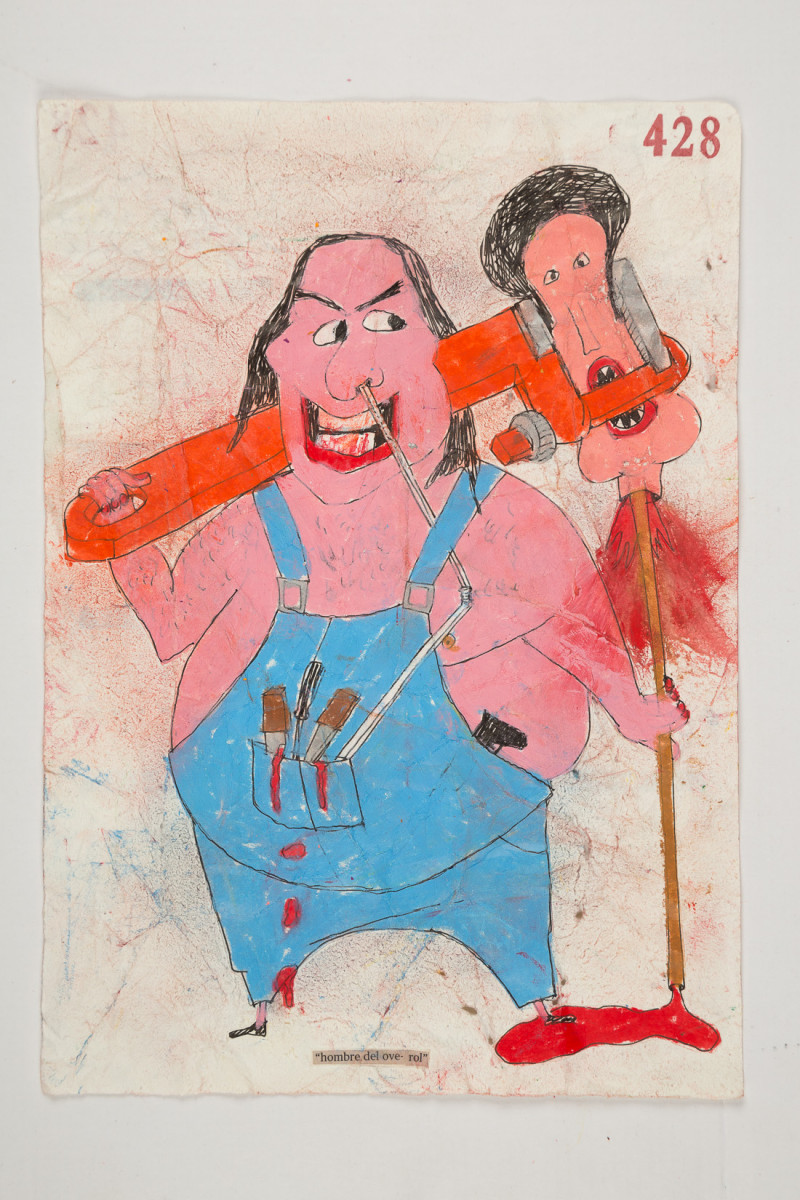 Camilo Restrepo. <em>Hombre del Overol</em>, 2021. Water-soluble wax pastel, ink, tape and saliva on paper 11 3/4 x 8 1/4 inches (29.8 x 21 cm)