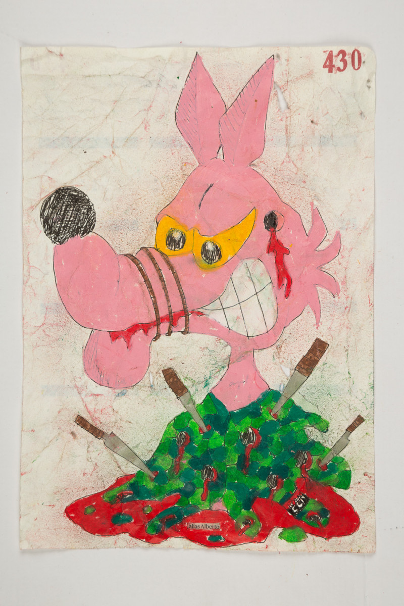 Camilo Restrepo. <em>Alberto</em>, 2021. Water-soluble wax pastel, ink, tape and saliva on paper 11 3/4 x 8 1/4 inches (29.8 x 21 cm)