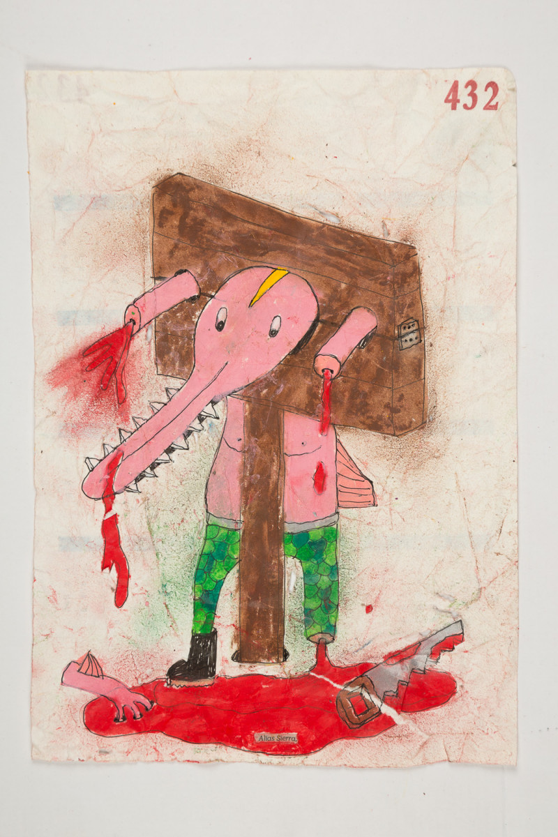 Camilo Restrepo. <em>Sierra</em>, 2021. Water-soluble wax pastel, ink, tape and saliva on paper 11 3/4 x 8 1/4 inches (29.8 x 21 cm)