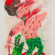 Camilo Restrepo. <em>Guanache</em>, 2021. Water-soluble wax pastel, ink, tape and saliva on paper 11 3/4 x 8 1/4 inches (29.8 x 21 cm) thumbnail