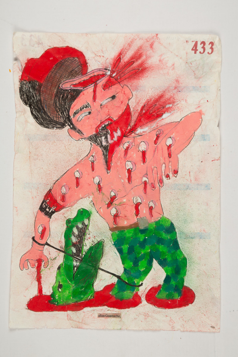 Camilo Restrepo. <em>Guanache</em>, 2021. Water-soluble wax pastel, ink, tape and saliva on paper 11 3/4 x 8 1/4 inches (29.8 x 21 cm)