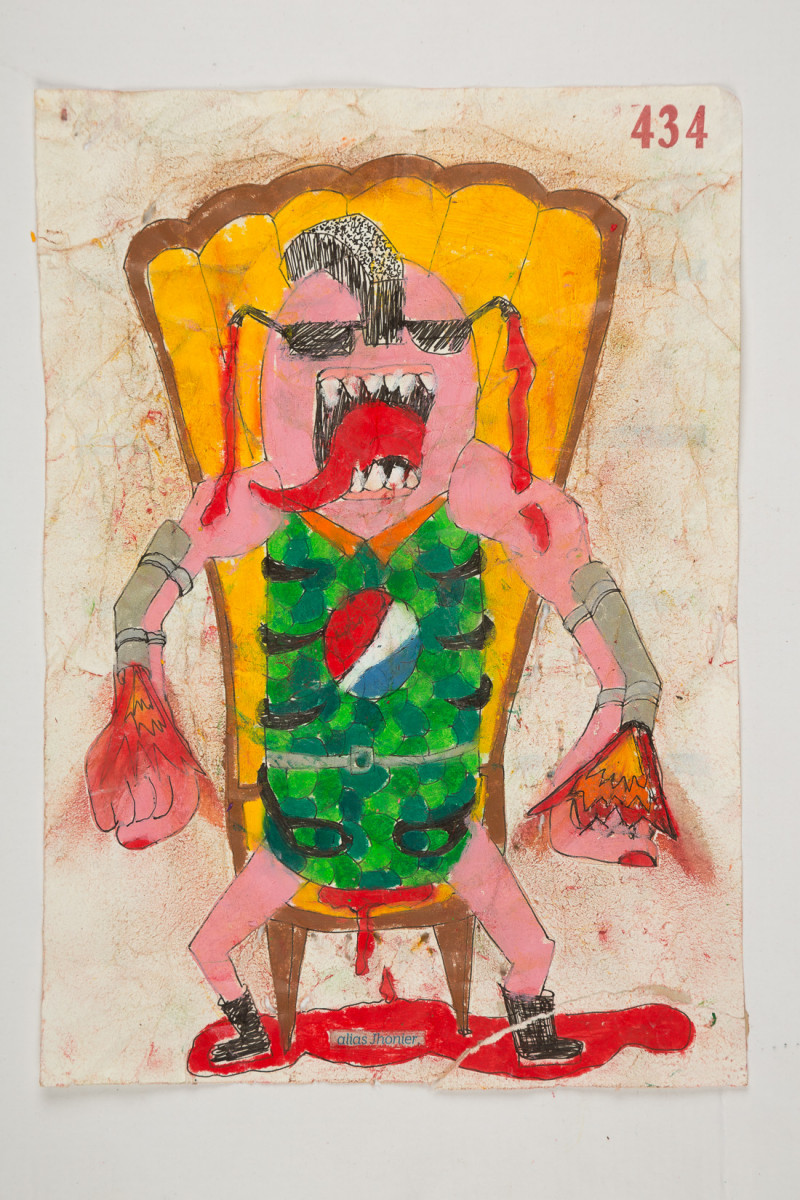 Camilo Restrepo. <em>Jhonier</em>, 2021. Water-soluble wax pastel, ink, tape and saliva on paper 11 3/4 x 8 1/4 inches (29.8 x 21 cm)