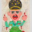 Camilo Restrepo. <em>Zepeda</em>, 2021. Water-soluble wax pastel, ink, tape and saliva on paper 11 3/4 x 8 1/4 inches (29.8 x 21 cm) thumbnail
