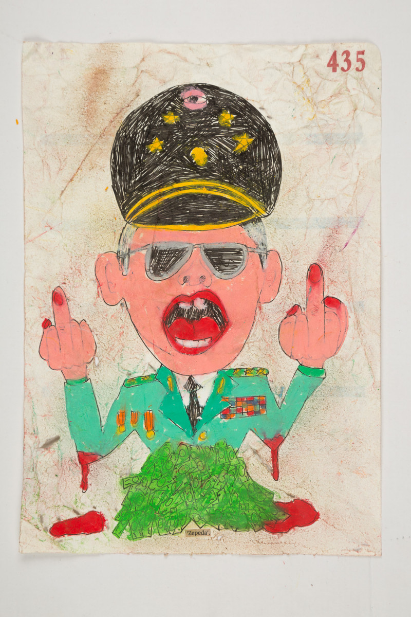 Camilo Restrepo. <em>Zepeda</em>, 2021. Water-soluble wax pastel, ink, tape and saliva on paper 11 3/4 x 8 1/4 inches (29.8 x 21 cm)
