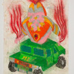 Camilo Restrepo. <em>H-2</em>, 2021. Water-soluble wax pastel, ink, tape and saliva on paper 11 3/4 x 8 1/4 inches (29.8 x 21 cm) thumbnail