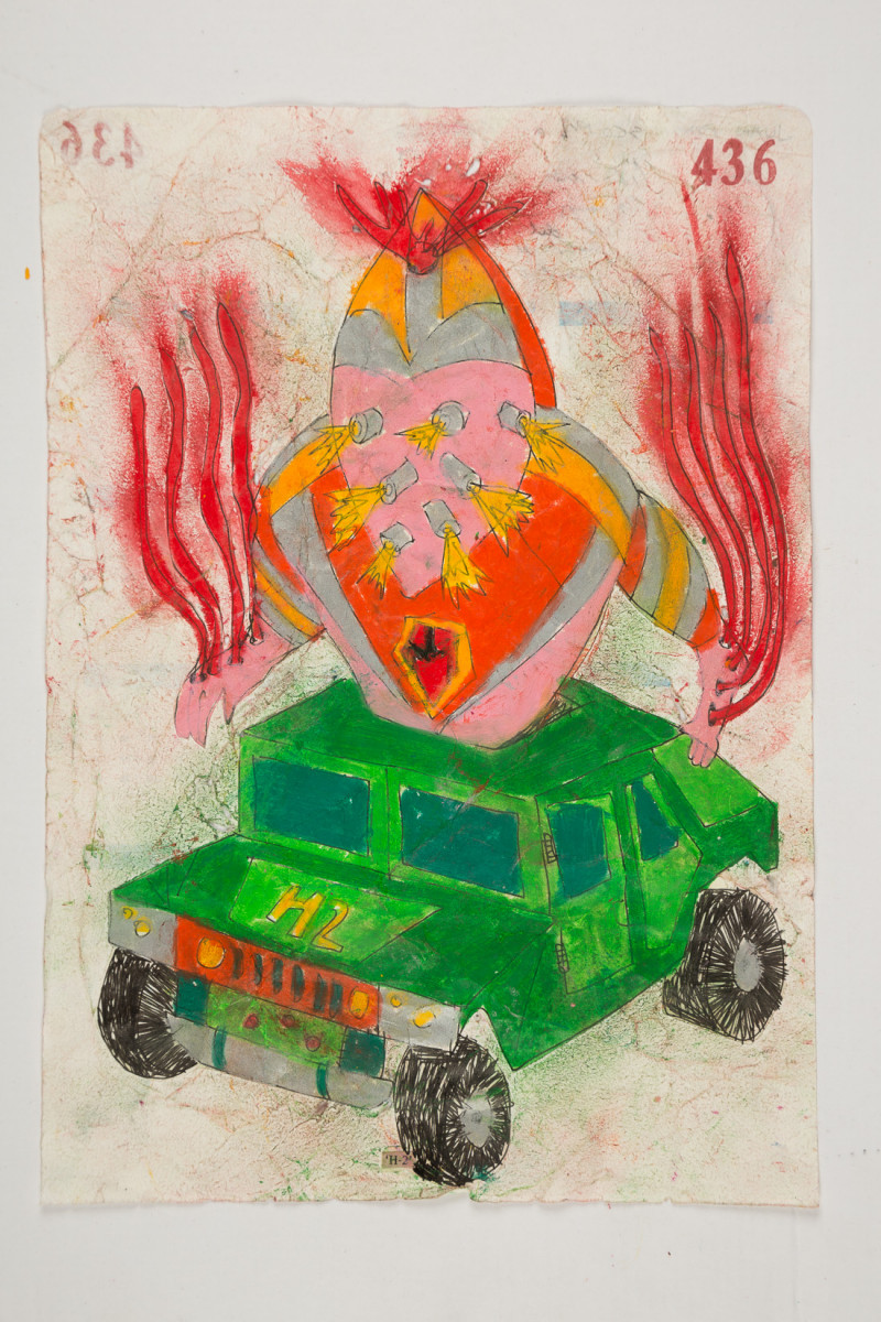 Camilo Restrepo. <em>H-2</em>, 2021. Water-soluble wax pastel, ink, tape and saliva on paper 11 3/4 x 8 1/4 inches (29.8 x 21 cm)