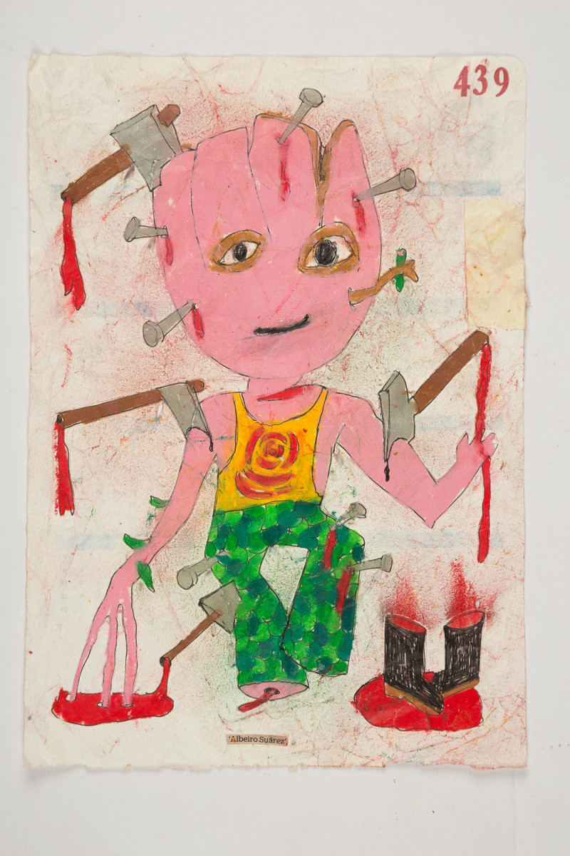 Camilo Restrepo. <em>Albeiro Suàrez</em>, 2021. Water-soluble wax pastel, ink, tape and saliva on paper 11 3/4 x 8 1/4 inches (29.8 x 21 cm)