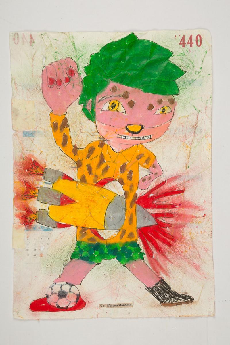 Camilo Restrepo. <em>Jefferson Mandela</em>, 2021. Water-soluble wax pastel, ink, tape and saliva on paper 11 3/4 x 8 1/4 inches (29.8 x 21 cm)