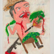 Camilo Restrepo. <em>Costeño</em>, 2021. Water-soluble wax pastel, ink, tape and saliva on paper 11 3/4 x 8 1/4 inches (29.8 x 21 cm) thumbnail