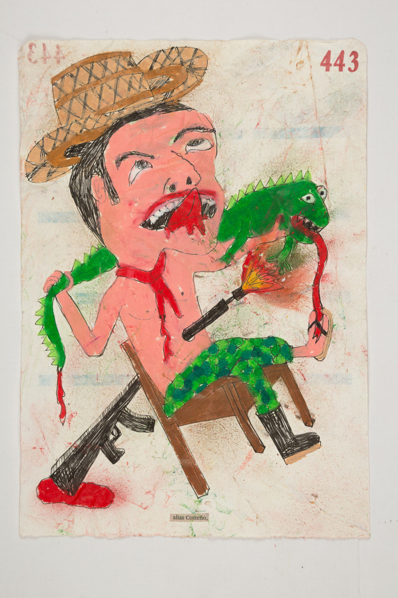 Camilo Restrepo. <em>Costeño</em>, 2021. Water-soluble wax pastel, ink, tape and saliva on paper 11 3/4 x 8 1/4 inches (29.8 x 21 cm)