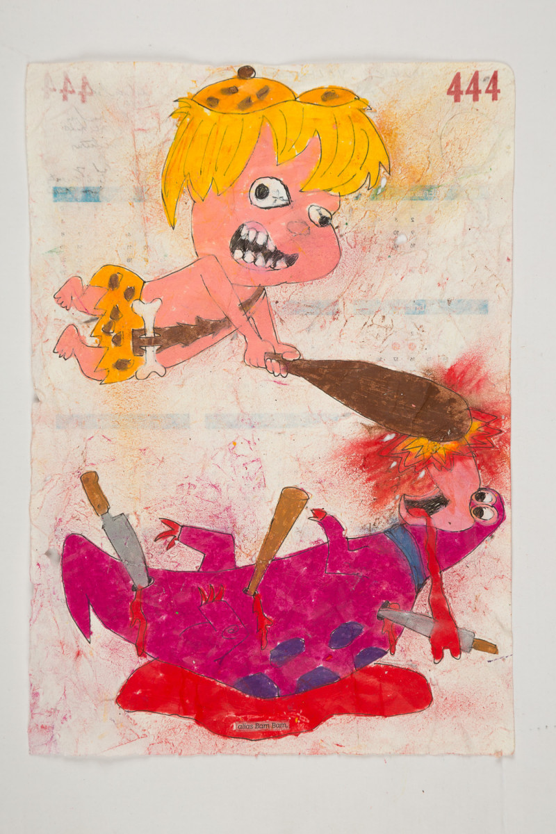 Camilo Restrepo. <em>Bam Bam</em>, 2021. Water-soluble wax pastel, ink, tape and saliva on paper 11 3/4 x 8 1/4 inches (29.8 x 21 cm)