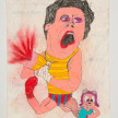 Camilo Restrepo. <em>Rocky</em>, 2021. Water-soluble wax pastel, ink, tape and saliva on paper 11 3/4 x 8 1/4 inches (29.8 x 21 cm) thumbnail