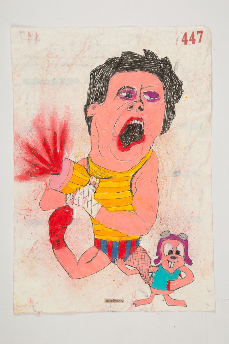 Camilo Restrepo. <em>Rocky</em>, 2021. Water-soluble wax pastel, ink, tape and saliva on paper 11 3/4 x 8 1/4 inches (29.8 x 21 cm)