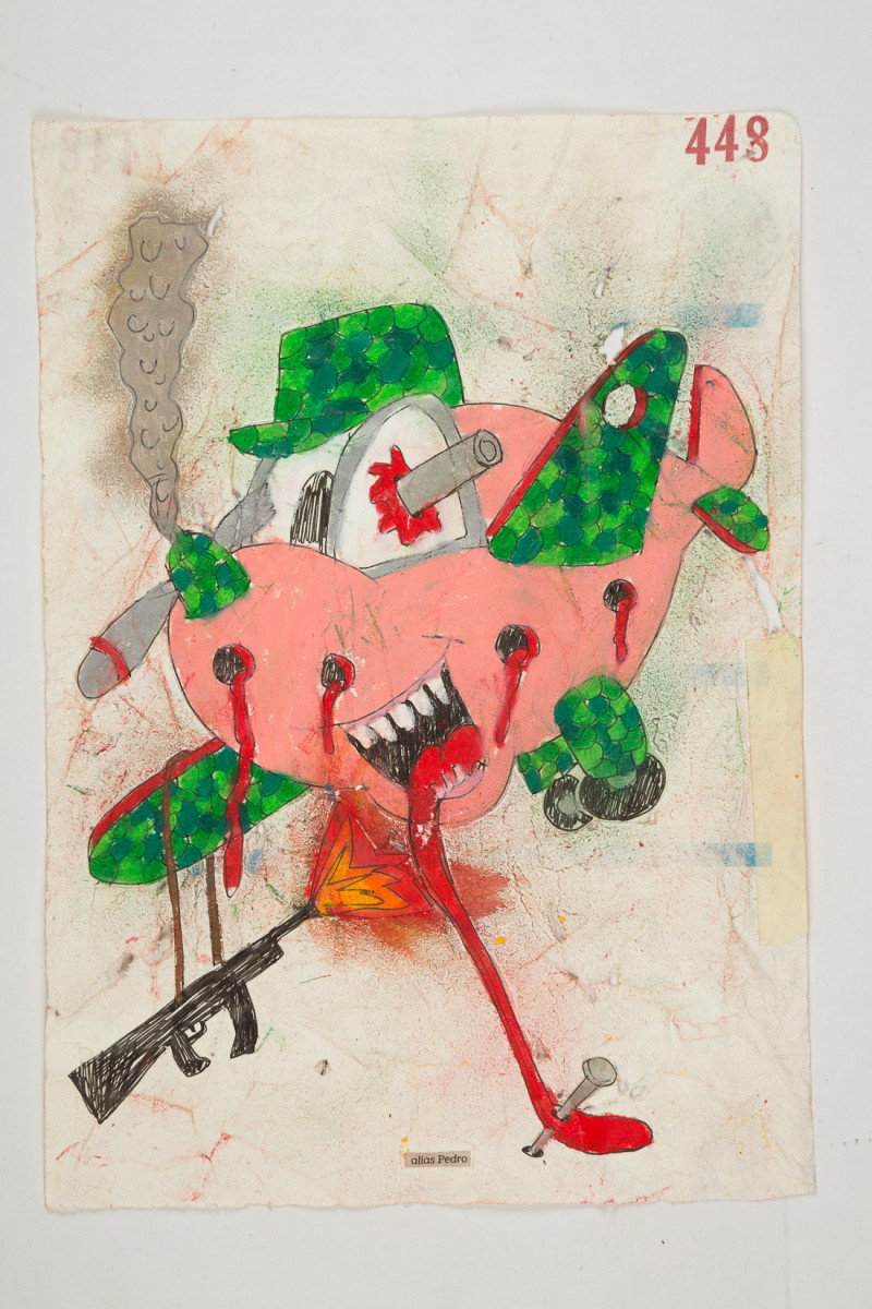 Camilo Restrepo. <em>Pedro</em>, 2021. Water-soluble wax pastel, ink, tape and saliva on paper 11 3/4 x 8 1/4 inches (29.8 x 21 cm)