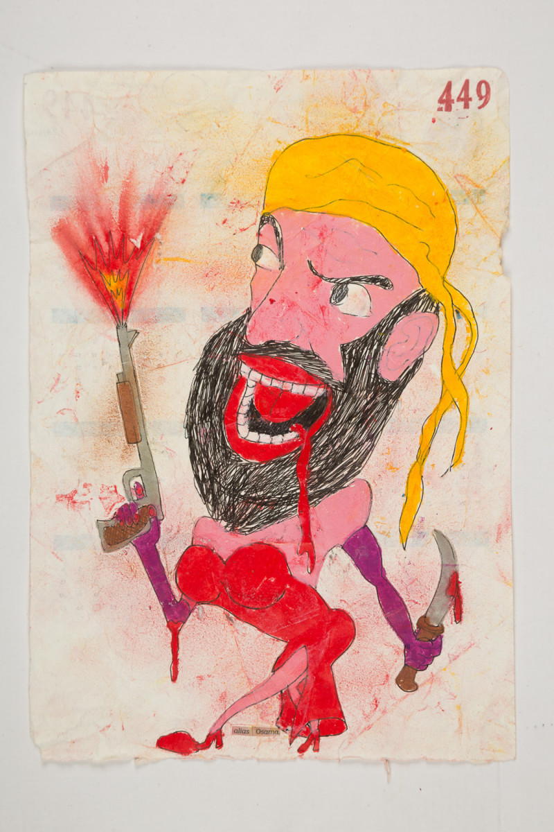 Camilo Restrepo. <em>Osama</em>, 2021. Water-soluble wax pastel, ink, tape and saliva on paper 11 3/4 x 8 1/4 inches (29.8 x 21 cm)
