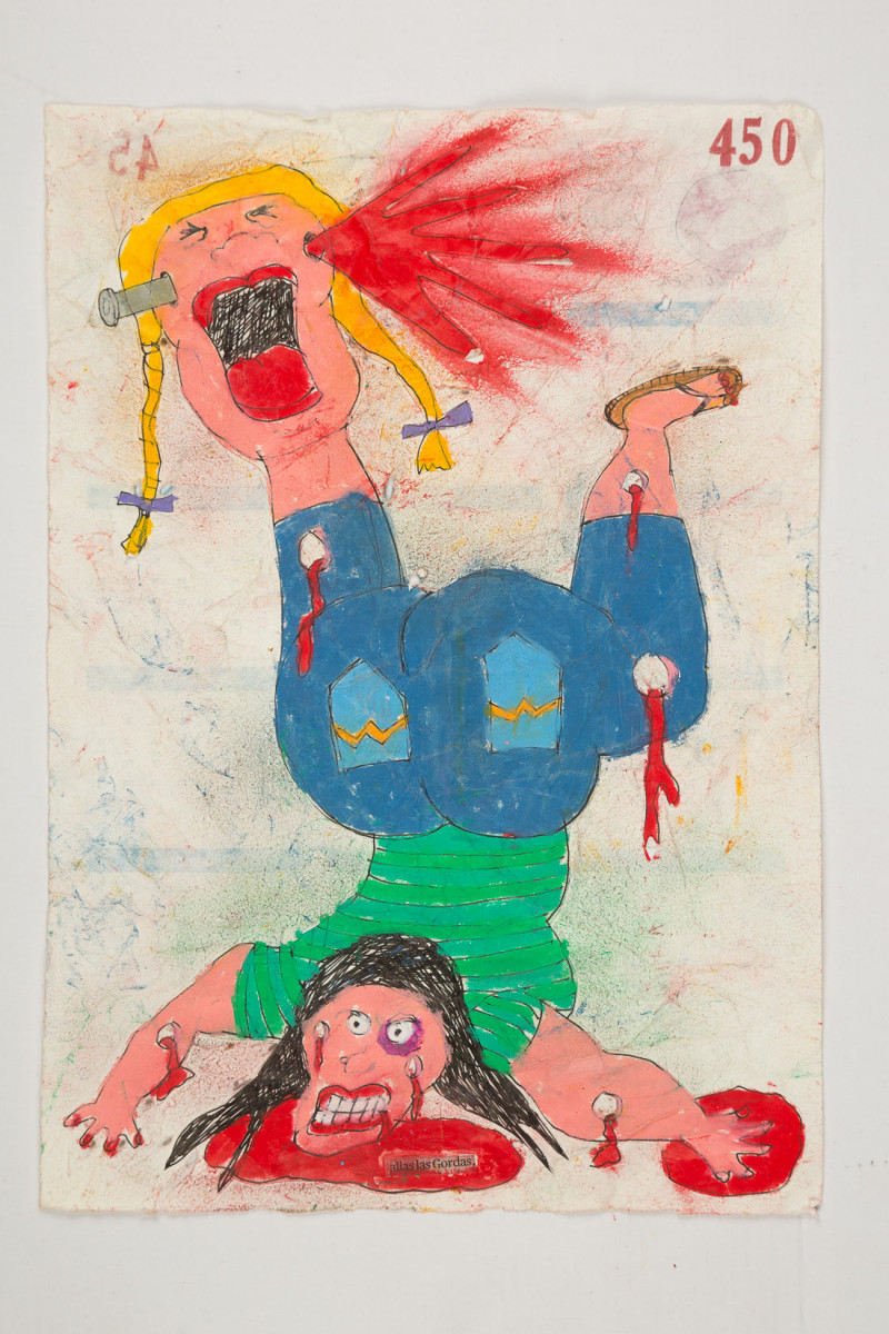 Camilo Restrepo. <em>Gordas</em>, 2021. Water-soluble wax pastel, ink, tape and saliva on paper 11 3/4 x 8 1/4 inches (29.8 x 21 cm)