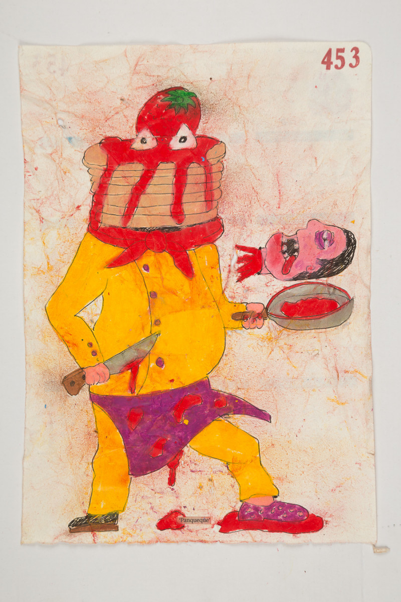 Camilo Restrepo. <em>Panqueque</em>, 2021. Water-soluble wax pastel, ink, tape and saliva on paper 11 3/4 x 8 1/4 inches (29.8 x 21 cm)