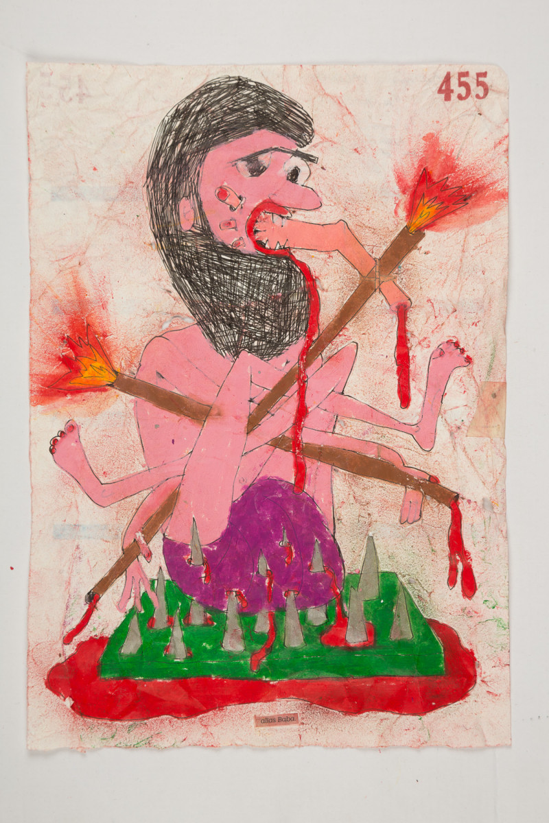 Camilo Restrepo. <em>Baba</em>, 2021. Water-soluble wax pastel, ink, tape and saliva on paper 11 3/4 x 8 1/4 inches (29.8 x 21 cm)