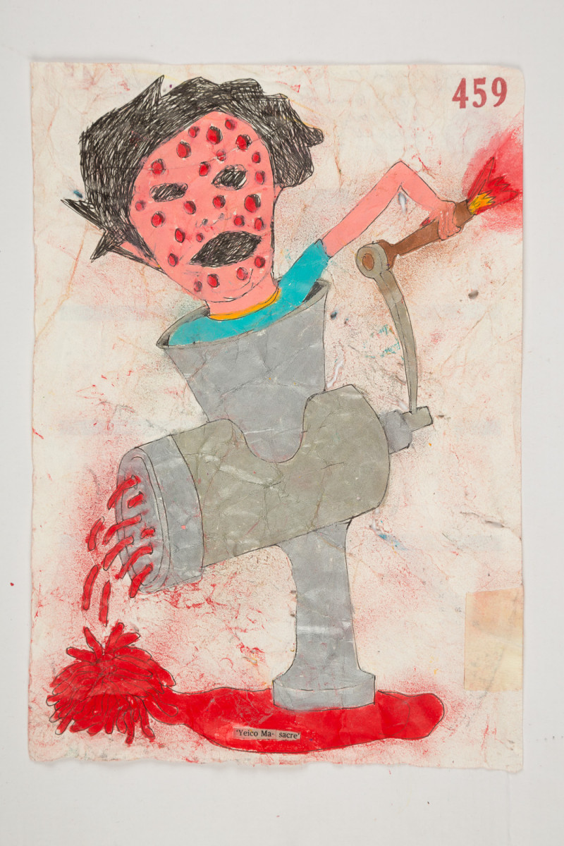 Camilo Restrepo. <em>Yeico Masacre</em>, 2021. Water-soluble wax pastel, ink, tape and saliva on paper 11 3/4 x 8 1/4 inches (29.8 x 21 cm)
