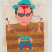 Camilo Restrepo. <em>Farrique</em>, 2021. Water-soluble wax pastel, ink, tape and saliva on paper 11 3/4 x 8 1/4 inches (29.8 x 21 cm) thumbnail