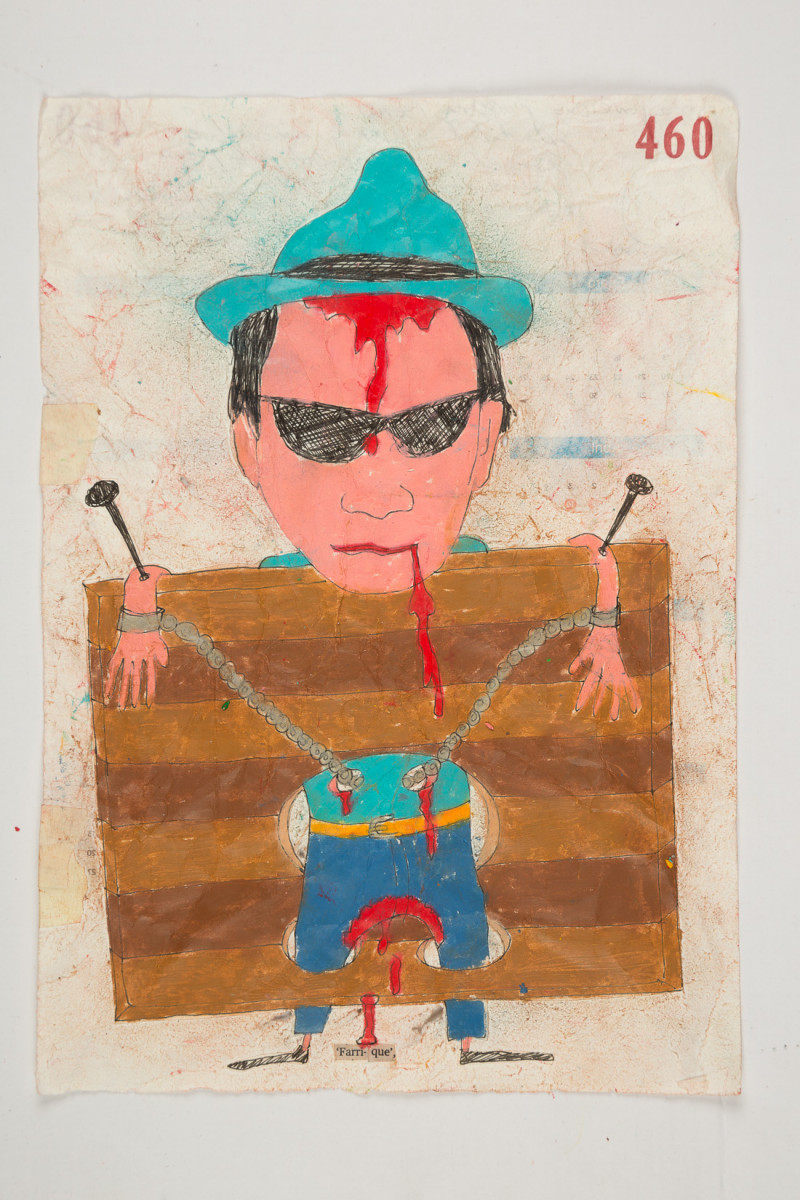 Camilo Restrepo. <em>Farrique</em>, 2021. Water-soluble wax pastel, ink, tape and saliva on paper 11 3/4 x 8 1/4 inches (29.8 x 21 cm)