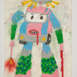 Camilo Restrepo. <em>Poli</em>, 2021. Water-soluble wax pastel, ink, tape and saliva on paper 11 3/4 x 8 1/4 inches (29.8 x 21 cm) thumbnail