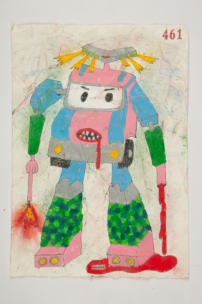 Camilo Restrepo. <em>Poli</em>, 2021. Water-soluble wax pastel, ink, tape and saliva on paper 11 3/4 x 8 1/4 inches (29.8 x 21 cm)