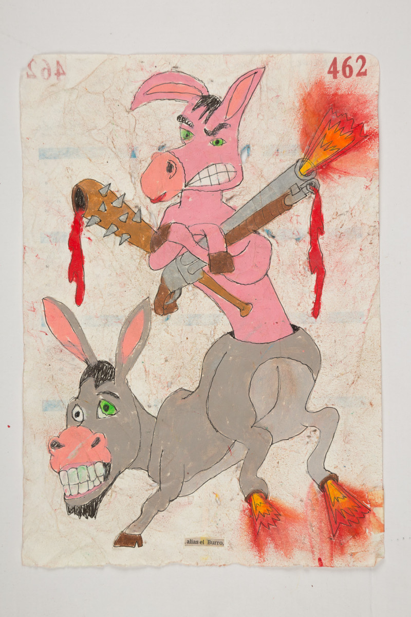 Camilo Restrepo. <em>Burro</em>, 2021. Water-soluble wax pastel, ink, tape and saliva on paper 11 3/4 x 8 1/4 inches (29.8 x 21 cm)