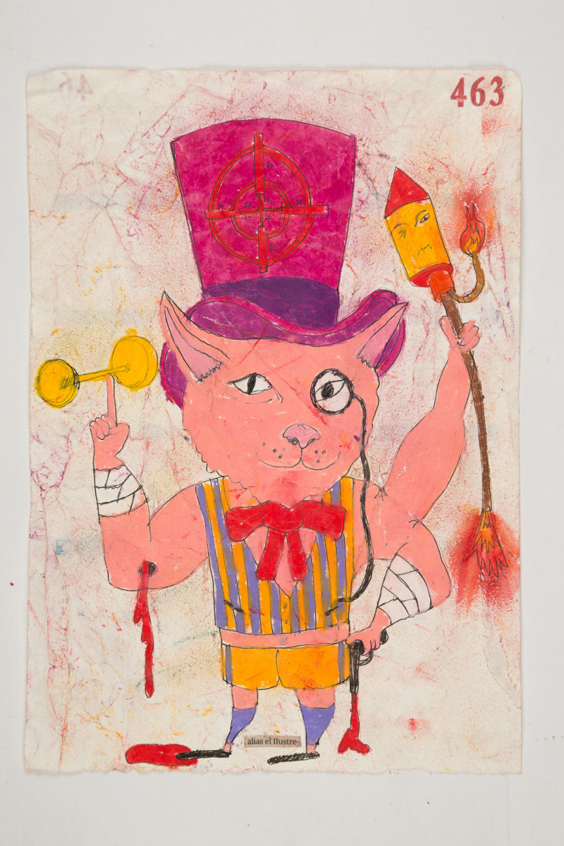 Camilo Restrepo. <em>Ilustre</em>, 2021. Water-soluble wax pastel, ink, tape and saliva on paper 11 3/4 x 8 1/4 inches (29.8 x 21 cm)