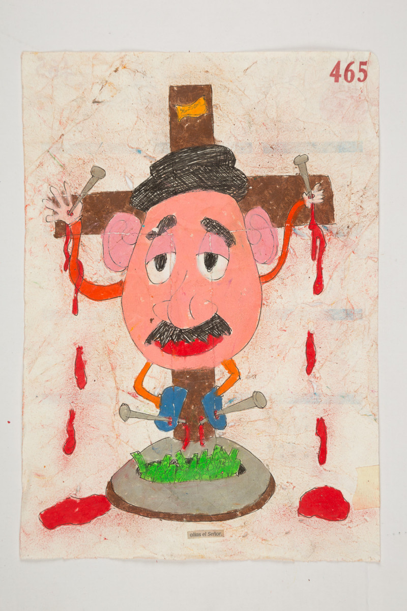 Camilo Restrepo. <em>Señor</em>, 2021. Water-soluble wax pastel, ink, tape and saliva on paper 11 3/4 x 8 1/4 inches (29.8 x 21 cm)