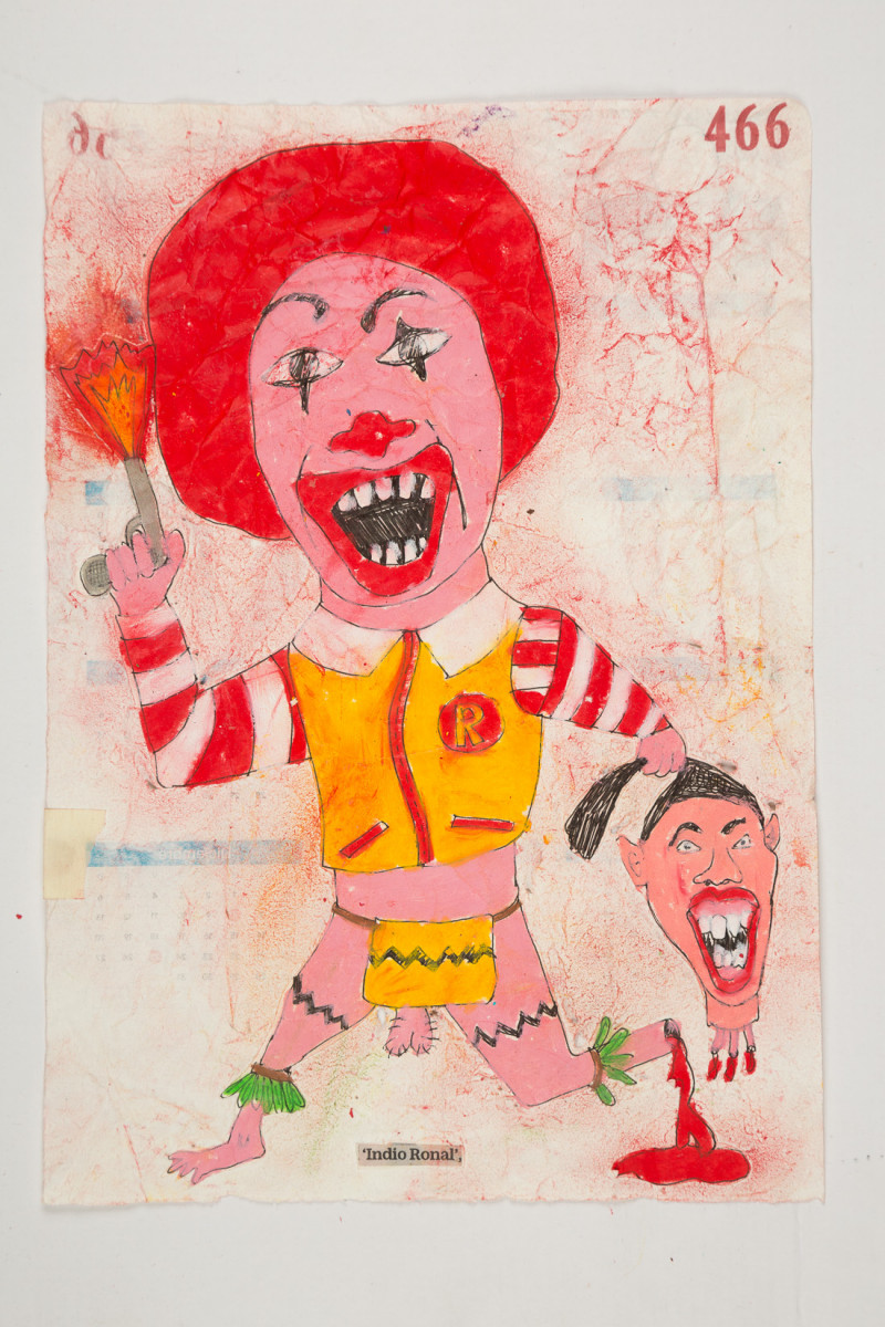 Camilo Restrepo. <em>Indio Ronal</em>, 2021. Water-soluble wax pastel, ink, tape and saliva on paper 11 3/4 x 8 1/4 inches (29.8 x 21 cm)