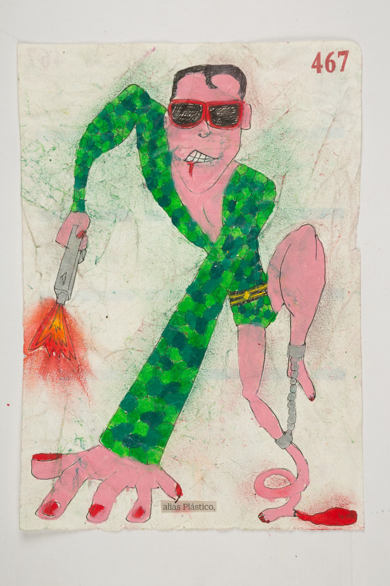 Camilo Restrepo. <em>Plàstico</em>, 2021. Water-soluble wax pastel, ink, tape and saliva on paper 11 3/4 x 8 1/4 inches (29.8 x 21 cm)