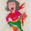 Camilo Restrepo. <em>Nùmero</em>, 2021. Water-soluble wax pastel, ink, tape and saliva on paper 11 3/4 x 8 1/4 inches (29.8 x 21 cm) thumbnail