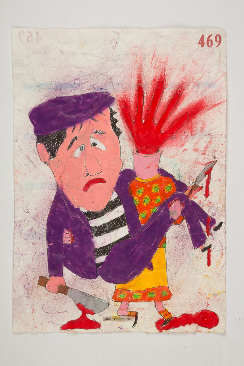 Camilo Restrepo. <em>Chòmpiras</em>, 2021. Water-soluble wax pastel, ink, tape and saliva on paper 11 3/4 x 8 1/4 inches (29.8 x 21 cm)