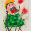 Camilo Restrepo. <em>India Carolina</em>, 2021. Water-soluble wax pastel, ink, tape and saliva on paper 11 3/4 x 8 1/4 inches (29.8 x 21 cm) thumbnail