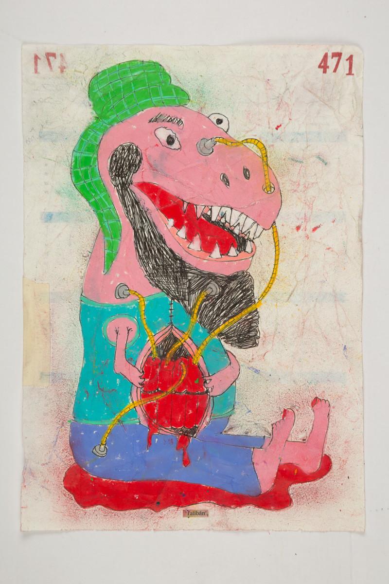 Camilo Restrepo. <em>Talibàn</em>, 2021. Water-soluble wax pastel, ink, tape and saliva on paper 11 3/4 x 8 1/4 inches (29.8 x 21 cm)