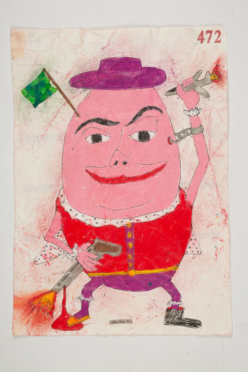 Camilo Restrepo. <em>Don Ti</em>, 2021. Water-soluble wax pastel, ink, tape and saliva on paper 11 3/4 x 8 1/4 inches (29.8 x 21 cm)