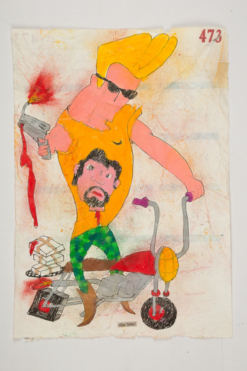 Camilo Restrepo. <em>John</em>, 2021. Water-soluble wax pastel, ink, tape and saliva on paper 11 3/4 x 8 1/4 inches (29.8 x 21 cm)