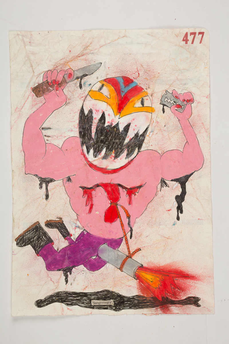 Camilo Restrepo. <em>Sangrenegra</em>, 2021. Water-soluble wax pastel, ink, tape and saliva on paper 11 3/4 x 8 1/4 inches (29.8 x 21 cm)